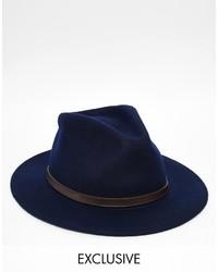 Chapeau en laine bleu marine Reclaimed Vintage