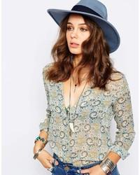 Chapeau en laine bleu Catarzi