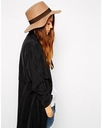 Chapeau en laine brun clair Asos