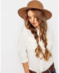 Chapeau en laine brun Brixton