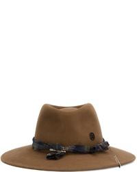 Chapeau en laine brun Maison Michel