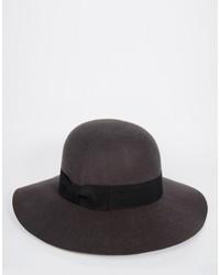 Chapeau en laine gris foncé Asos