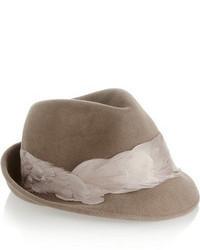 Chapeau en laine marron clair Eugenia Kim