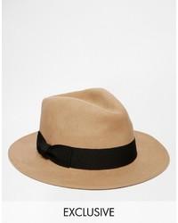 Chapeau en laine marron clair Reclaimed Vintage