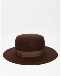 Chapeau en laine marron foncé Asos