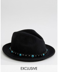 Chapeau en laine noir Reclaimed Vintage