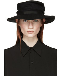 Chapeau en laine noir Yohji Yamamoto