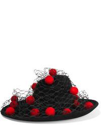 Chapeau en laine orné noir Philip Treacy