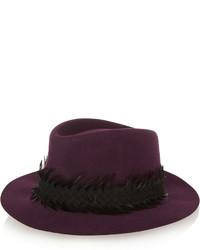 Chapeau en laine pourpre foncé Maison Michel