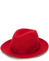 Chapeau en laine rouge Borsalino