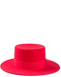 Chapeau en laine rouge Saint Laurent