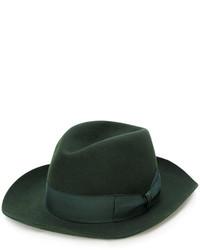 Chapeau en laine vert foncé Borsalino