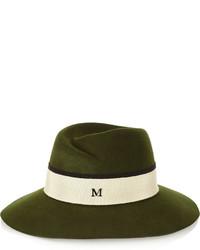Chapeau en laine vert foncé Maison Michel