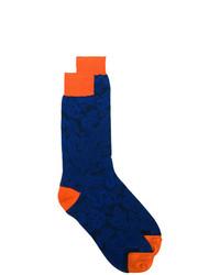 Chaussettes à fleurs bleu marine Etro