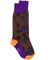 Chaussettes à fleurs marron foncé Marni