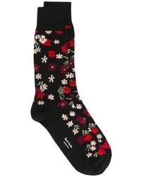 Chaussettes à fleurs noires Paul Smith