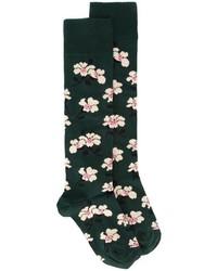 Chaussettes à fleurs vert foncé Marni