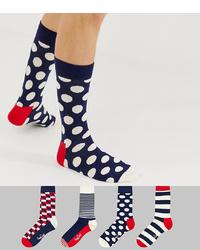 Chaussettes á pois bleu marine et blanc Happy Socks