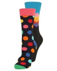 Chaussettes á pois bleu marine Happy Socks