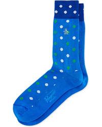Chaussettes á pois bleues