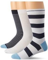 Chaussettes à rayures horizontales blanc et bleu marine