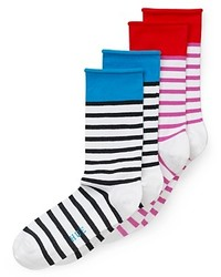 Chaussettes à rayures horizontales blanches