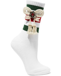 Chaussettes à rayures horizontales blanches Gucci