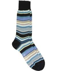 Chaussettes à rayures horizontales bleu canard Paul Smith