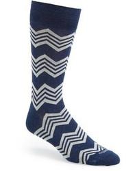 Chaussettes à rayures horizontales bleu marine et blanc
