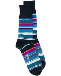 Chaussettes à rayures horizontales bleu marine Paul Smith