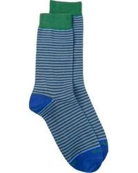 Chaussettes à rayures horizontales bleues