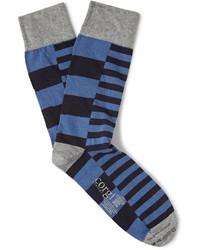 Chaussettes à rayures horizontales bleues Corgi
