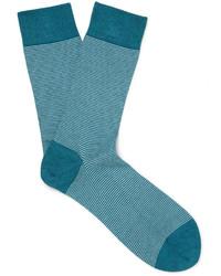 Chaussettes à rayures horizontales bleues John Smedley