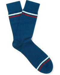 Chaussettes à rayures horizontales bleues John Smedley