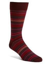 Chaussettes à rayures horizontales bordeaux