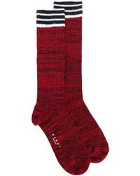 Chaussettes à rayures horizontales bordeaux Marni