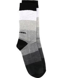 Chaussettes à rayures horizontales gris foncé Diesel