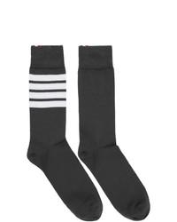 Chaussettes à rayures horizontales gris foncé Thom Browne