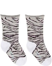 Chaussettes à rayures horizontales grises Kenzo