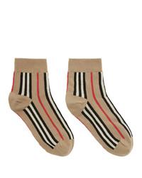 Chaussettes à rayures horizontales marron clair Burberry