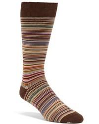 Chaussettes à rayures horizontales marron
