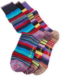 Chaussettes à rayures horizontales multicolores