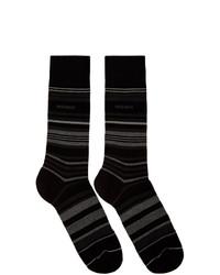 Chaussettes à rayures horizontales noires BOSS