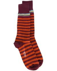 Chaussettes à rayures horizontales pourpre foncé Paul Smith