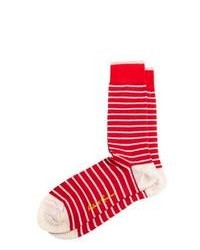 Chaussettes à rayures horizontales rouge et blanc