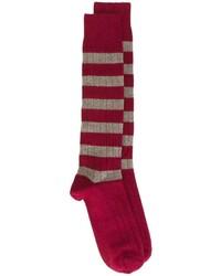 Chaussettes à rayures horizontales rouge et blanc Church's