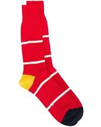Chaussettes à rayures horizontales rouge et blanc Paul Smith