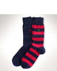 Chaussettes à rayures horizontales rouge et bleu marine
