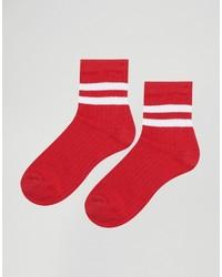 Chaussettes à rayures horizontales rouges Asos