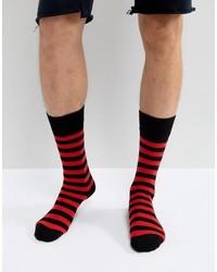 Chaussettes à rayures horizontales rouges Dr. Martens